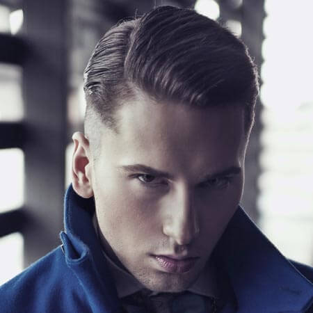 Slicked Back Mens Hair With Side Part